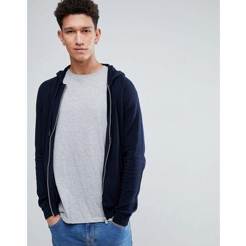 Threadbare Zip Through Knitted Hoodie - Navy, kolor szary