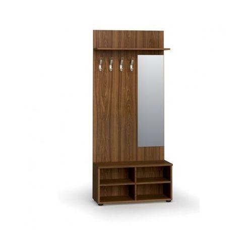 B2b partner Garderoba z półką na buty i lustrem, 4 haczyki, półka, orzech