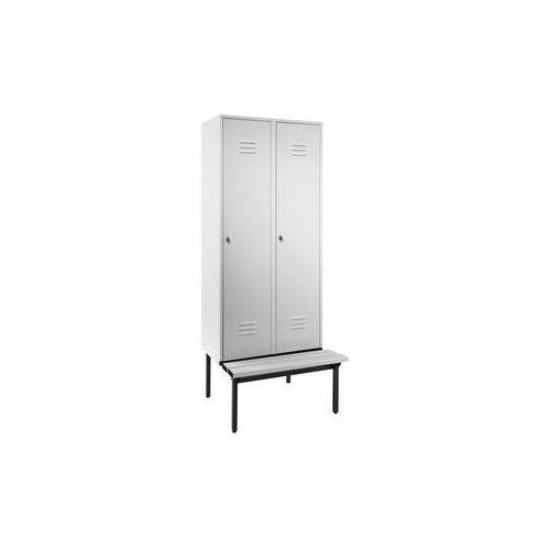 Szafka na ubrania z ławeczką u dołu,pełne drzwi, szer. przedziału 400 mm, 2 przedziały marki Eugen wolf