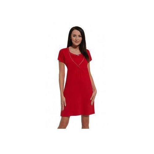 Koszula nocna ciążowa i do karmienia - Czerwona kr. rękaw, KKRRE CZERWONY