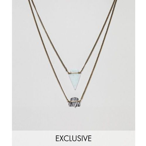 Reclaimed Vintage inspired layered necklaces with semi precious stones exclusive at ASOS - Gold