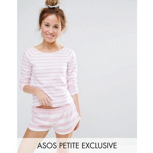 Asos petite  breton stripe tee and short pyjama set - pink