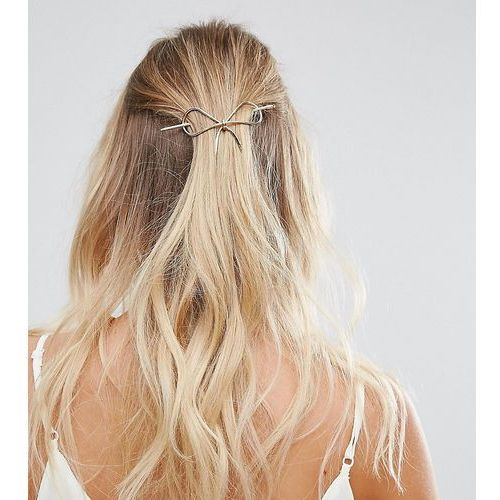 Orelia metal gold bow thread through hair pin - gold