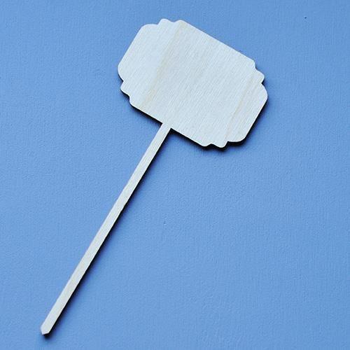 Eko deco Drewniana tabliczka na patyku 14x6 cm ozdobne rogi - 02