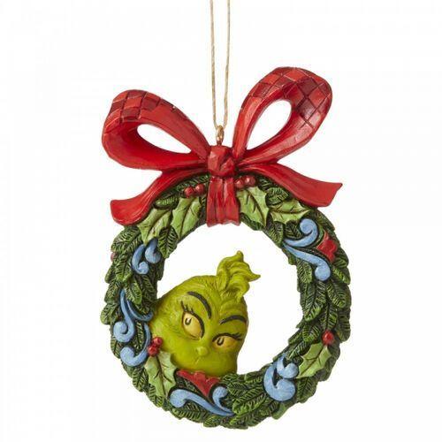 """Grinch i świąteczny wianek zawieszka z bajki """"Grinch Świąt nie będzie"""" Grinch Peeking Through Wreath 6006571 Jim Shore figurka dekoracja pokój dziecięcy"""
