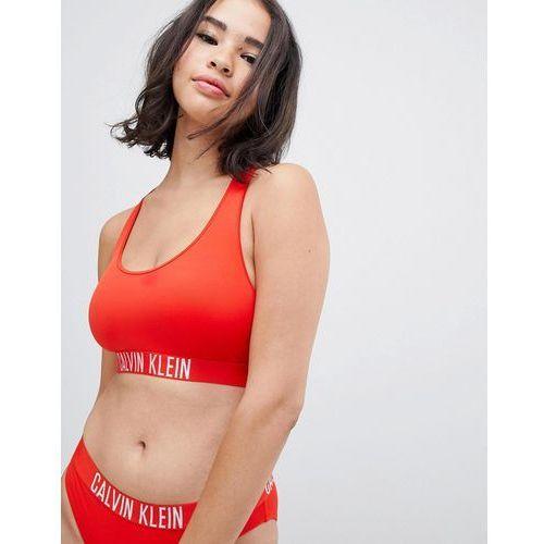 Calvin Klein Fiery Red Logo Bikini Top - Red, kolor czerwony