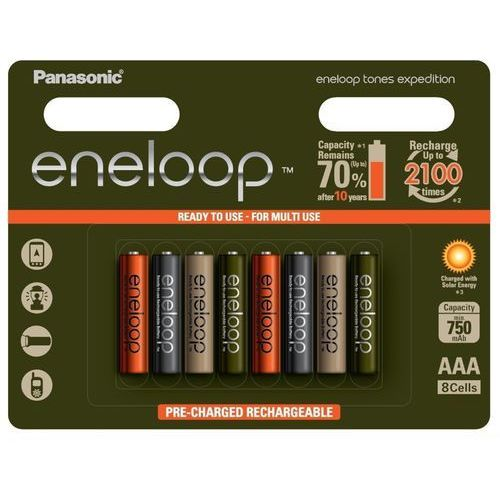 8 x akumulatorki Panasonic Eneloop Tones Expedition R03/AAA 800mAh (blister), BK-4MCCE/8BE