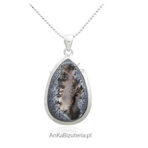Zawieszka srebrna z naturalnym kamieniem dendrite. Piękna biżuteria srebrna UNIKAT, kolor beżowy