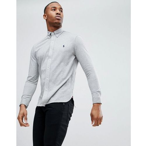 Polo Ralph Lauren slim fit pique shirt player logo button-down in grey marl - Grey, w 4 rozmiarach