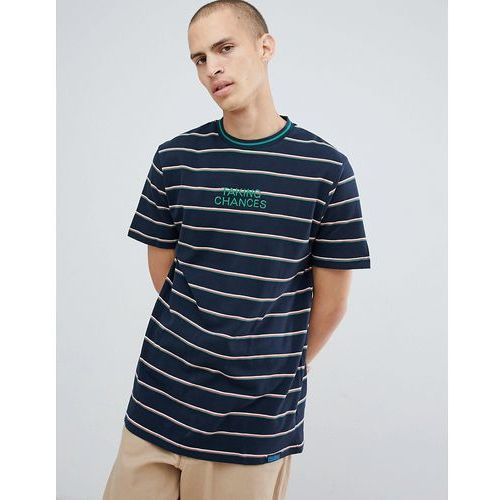 Pull&Bear Striped T-Shirt With Embroidery In Navy - Navy