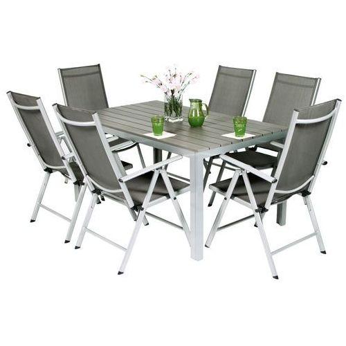 Edomator.pl Meble ogrodowe składane aluminiowe modena stół i 6 krzeseł - srebrny - srebrny