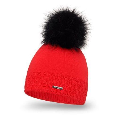 Czapka damska PaMaMi - Czerwony - Czerwony \ Pompon futerkowy - długi włos (5902934052658)