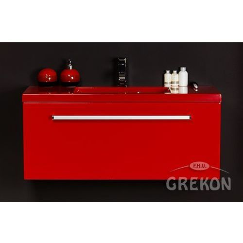 Czerwona szafka wisząca z umywalką 100/39CZ seria Fokus CZ, kolor czerwony