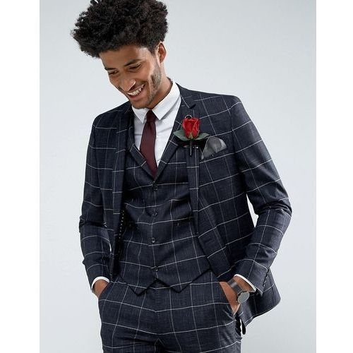 ASOS Wedding Super Skinny Suit Jacket in Navy Windowpane Check With Nepp - Navy