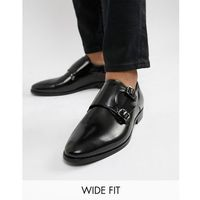 wide fit monk shoes in black hi-shine leather - black marki Dune