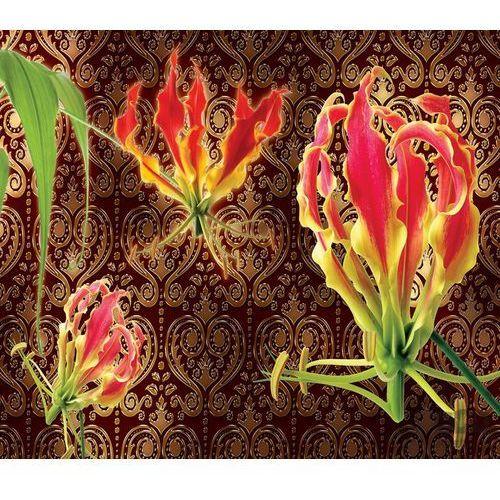 Fototapeta czerwone lilie na brązowym tle ze złotym wzorem 1374 marki Consalnet
