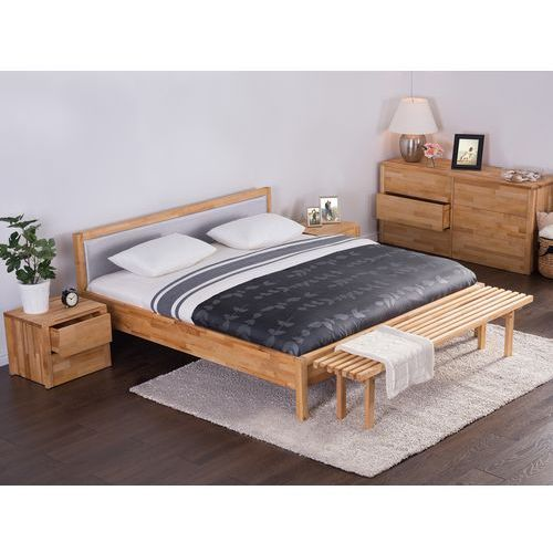 Beliani Podwójne łóżko drewniane ze stelażem 180x200 cm, szare carris