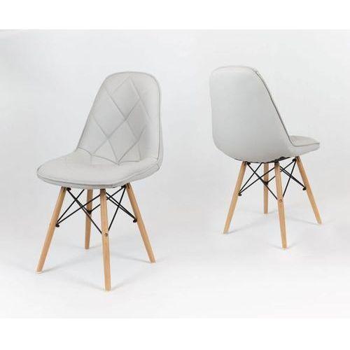 Sk design ks007 jasnoszare krzesło z ekoskóry na drewnianych nogach - jasnoszary