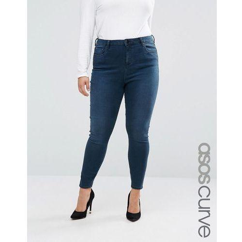 ASOS CURVE High Waist Ridley Skinny Jeans In Grace Wash - Blue, kolor niebieski