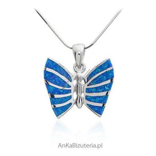 Zawieszka srebrna niebieski motyl z opalem, kolor niebieski