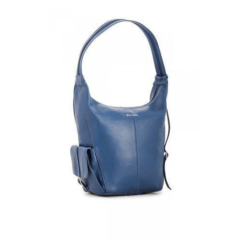 Niebieska torebka/plecak ze skóry naturalnej - Franco Bellucci, kolor niebieski