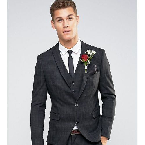 Selected homme suit jacket with mini tartan in skinny fit with stretch - black