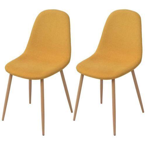 vidaXL Krzesło do jadalni 2 szt., tkanina, żółta (8718476011841)