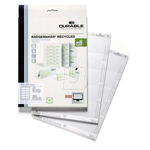 Wkłady do identyfikatorów  badgemaker 54x90 mm 200 szt. 1428-02 marki Durable