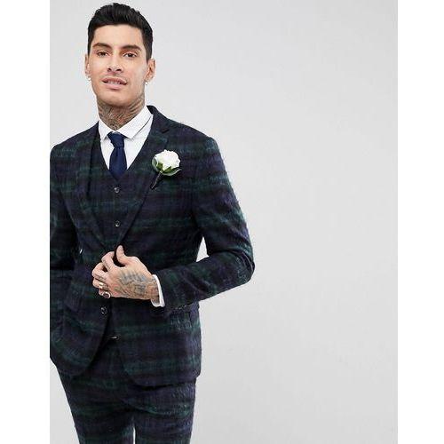 wedding slim suit jacket with mohair in lochcarron blackwatch tartan - green, Asos