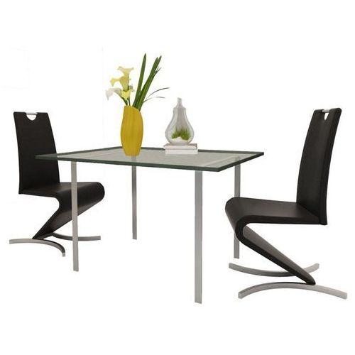 Krzesła wspornikowe do jadalni, 2 szt., sztuczna skóra, czarne, kolor czarny
