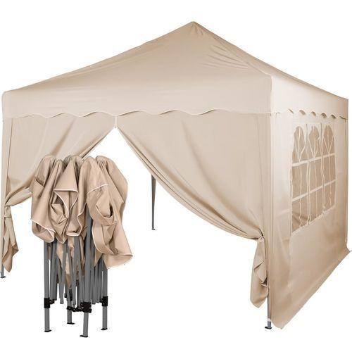Instent ® Ekspresowy beżowy pawilon namiot ogrodowy 3x3m + 2 ścianki - beżowy