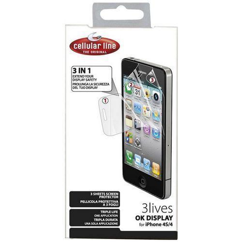 Cellular line Folia ochronna do iphone 4/4s (okdisplay3liphone4) (8018080151934)
