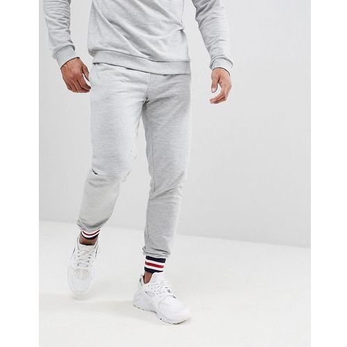 Boohooman skinny fit joggers with tipping detail in grey - grey
