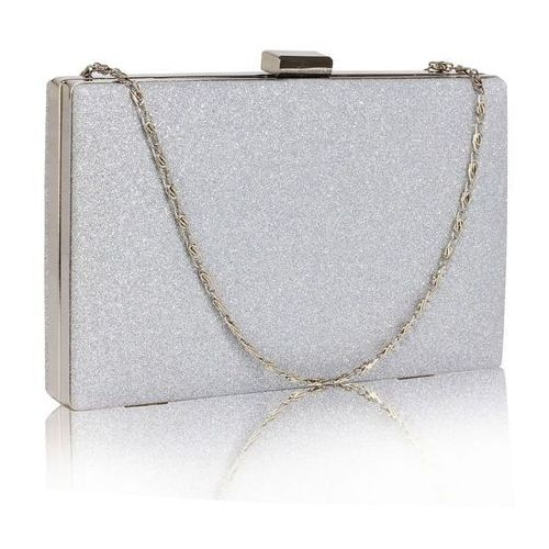 f30a0776fa00e Wielka brytania Brokatowa torebka wizytowa kopertówka srebrna - srebrny