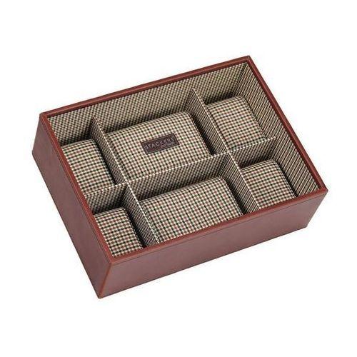 Pudełko na zegarki bez pokrywy 6 komorowe karmelowe kratka marki Stackers