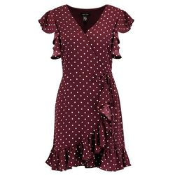 New Look POLKA DOT RUFFLE SLEEVE WRAP Sukienka letnia red