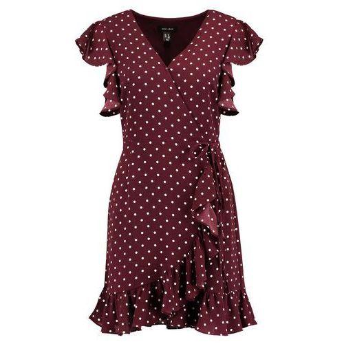 New Look POLKA DOT RUFFLE SLEEVE WRAP Sukienka letnia red, letnia
