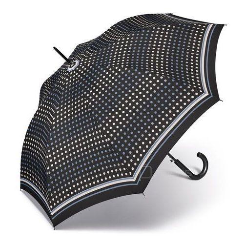 essentials classic długi damski parasol automatyczny long ac - czarny w kropki marki Happy rain