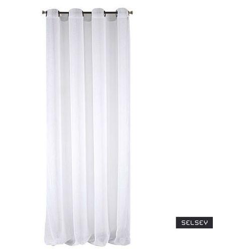 SELSEY Firana Cezeanne 140x250 z ozdobną nicią biała