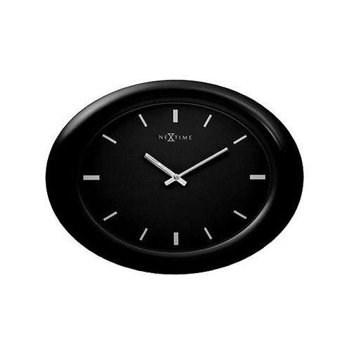 Zegar ścienny 40 cm NEXTIME Oval black, kolor Zegar