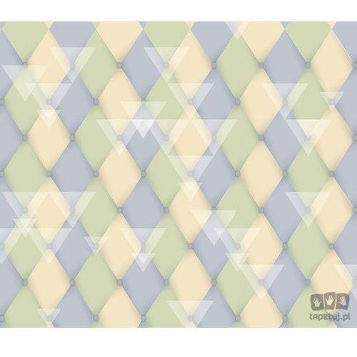 Fototapeta Klasyczne romby i białe trójkąty – wyblakłe pastele – zieleń, niebieski i żółty 1473, 1473