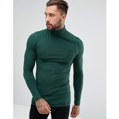 ASOS DESIGN long sleeve longline muscle roll neck t-shirt with curve hem - Green