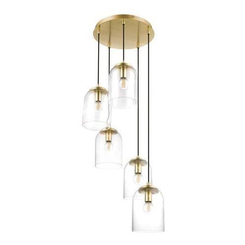 Lampa wisząca GoodHome Thestias 5-punktowa E14 transparentna / złota (5036581095895)