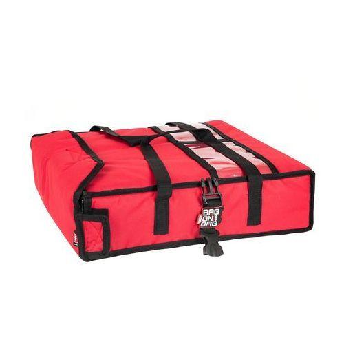 Podgrzewana torba wykonana z kodury na 2 kartony do pizzy o wymiarach 450x450 mm, ze stelażem, czerwona z czarną lamówką   , t2l pu marki Furmis