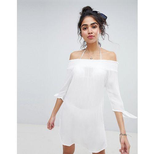 shirred bardot beach dress - white, New look, 36-38