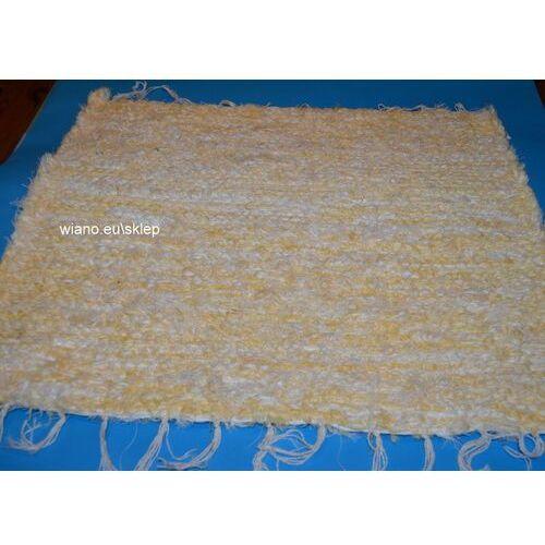 Chodnik bawełniany (wycieraczka) ręcznie tkany żółto-ecru 65x50 marki Twórczyni ludowa
