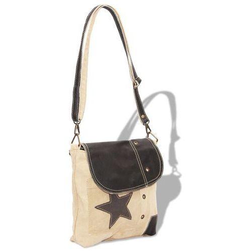 torebka na ramię płócienno-skórzana, beżowa marki Vidaxl