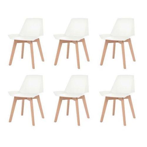vidaXL Komplet 6 krzeseł, drewniane nogi i białe, plastikowe siedziska (8718475581451)