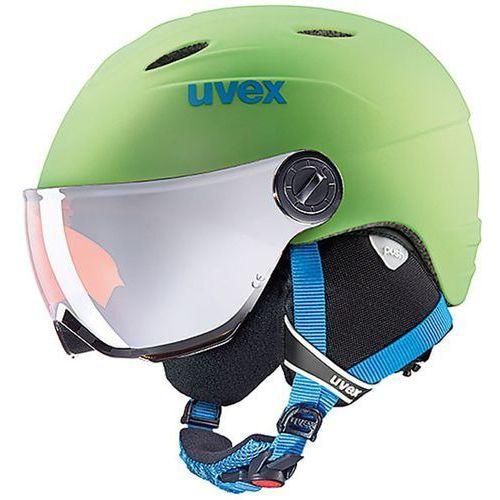 Dziecięcy kask narciarski junior visor pro zielony 566/191/7705 m 54-56 marki Uvex