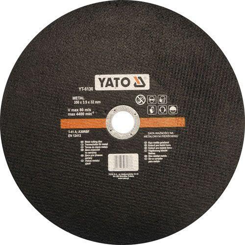 Tarcza do cięcia metalu 350x3,5x32 mm / YT-6136 / YATO - ZYSKAJ RABAT 30 ZŁ, YT-6136